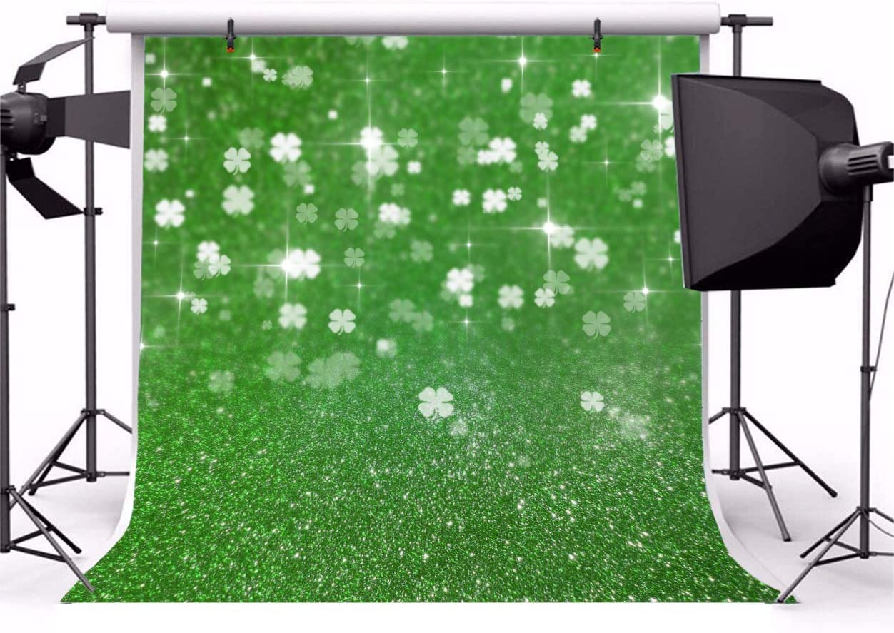 AOFOTO 5x5ft Happy St.Patricks Day Backdrop Shamrock Clover Glitter Green Photography Background March 17th Festival Celebration Family Events Children Portraits Shooting Backcloth Screen Prop