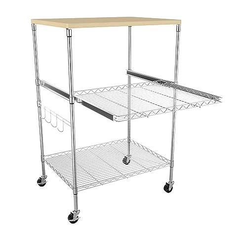 keland 3-Tier Classic microondas ajustable altura estante extraíble carrito cocina almacenamiento rejilla con 4