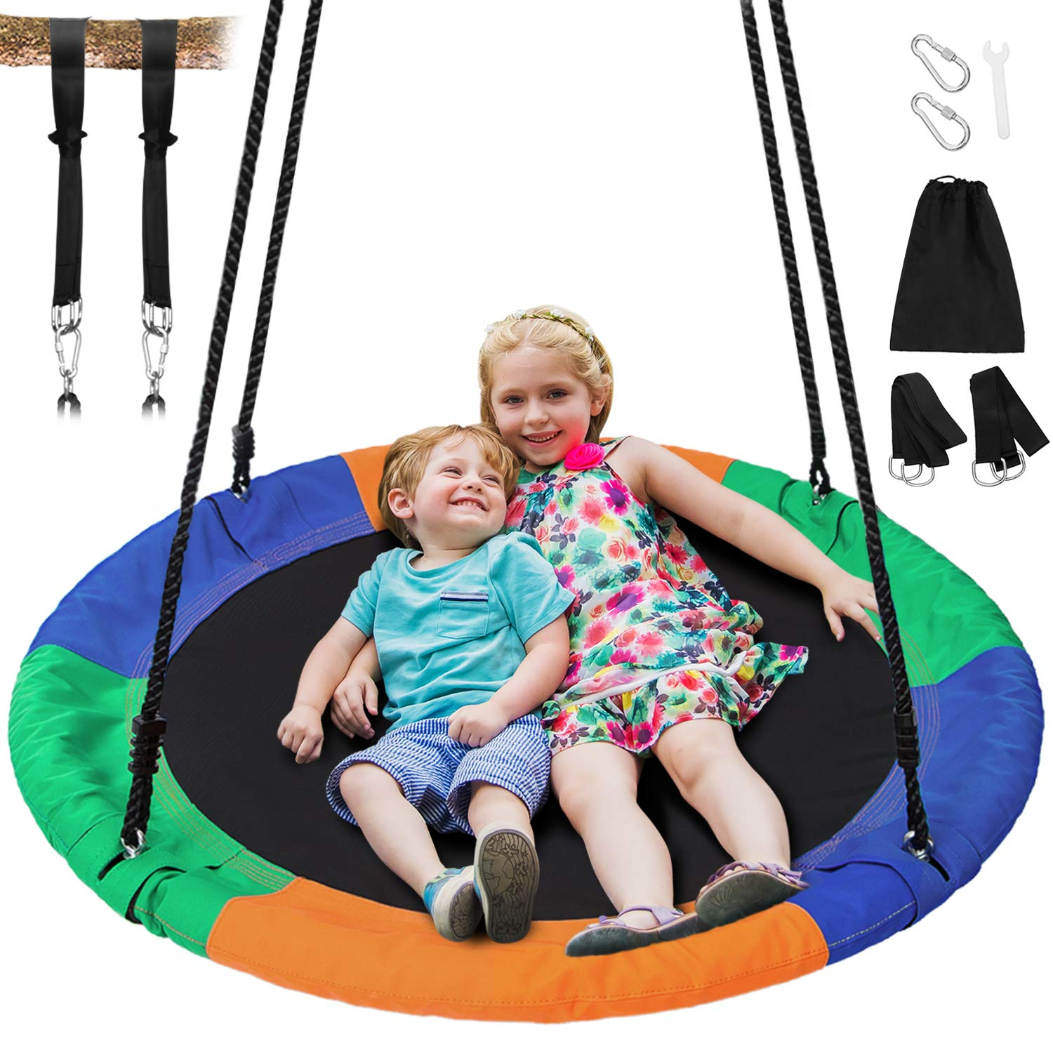 Sunkorto 40 Inch Flying Saucer Tree Swing, Round Indoor Outdoor Swingset with Hanging Strap Kit, 600lb Weight Capacity, Steel Frame & Adjustable Rope, Easy Install Swing Set for Kids Adults, Colorful by Sunkorto