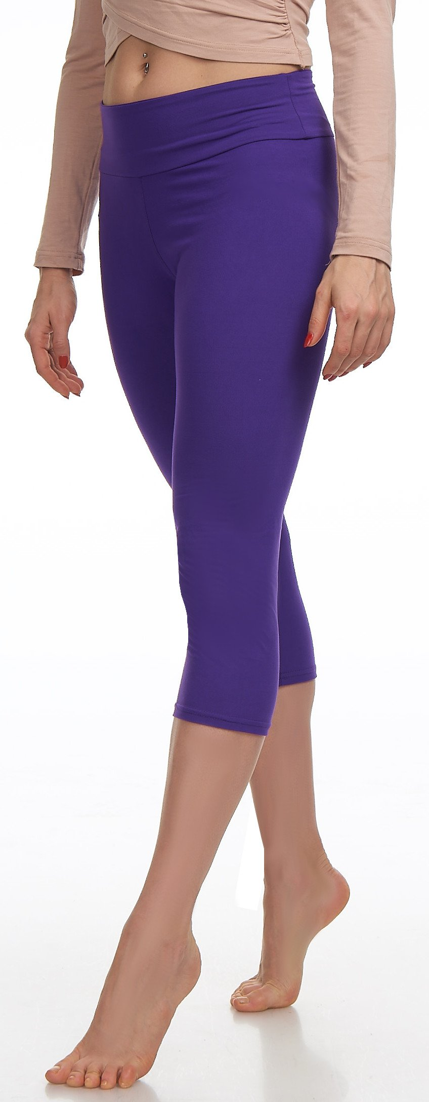 Lush Moda Extra Soft Leggings Variety of ColorsPlus Size Yoga Waist Purple, One Size fits Most (XL 3XL), Purple Yoga Waist by LMB (Image #9)