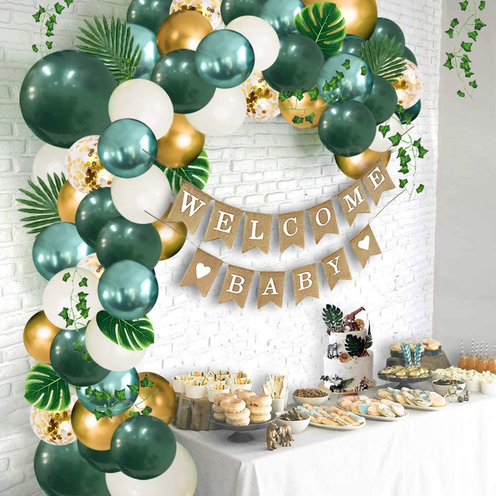 Ola Memoirs Safari Baby Shower Decorations Jungle Theme Party Supplies with Lush Green Balloon Garland Arch Kit Backdrop, Banner, Tropical Palm Leaves, Balloons Strip, Ivy Vines Decor for Boy and Girl