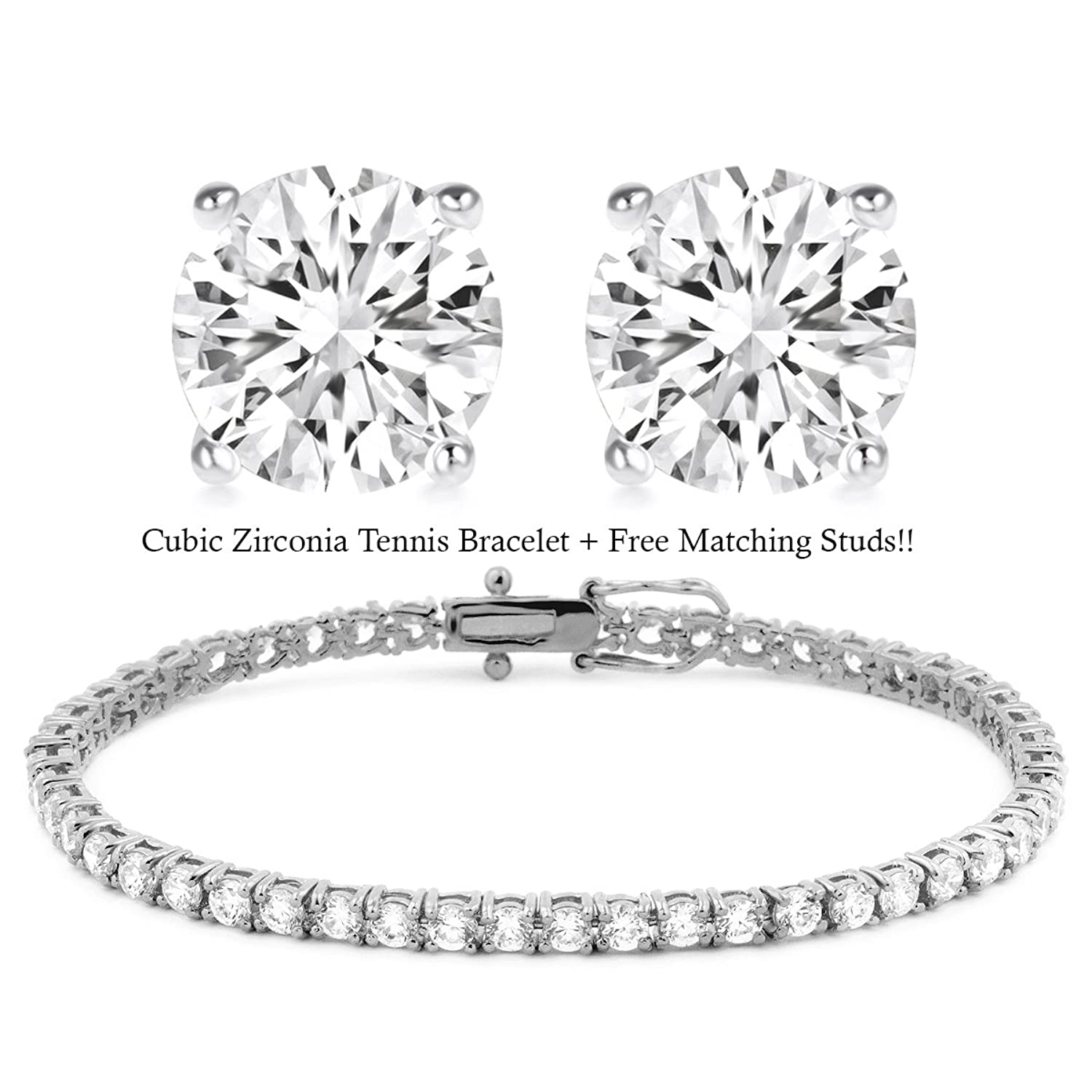 18K White Gold Plated Cz Tennis Bracelet + FREE Matching Stud Earrings