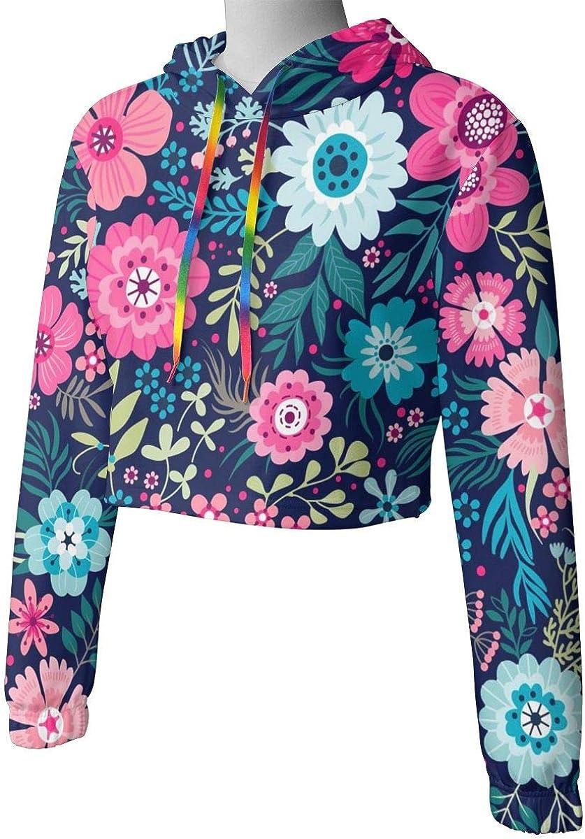 Womens Hoodie Sweater Small Colorful Flowers Crop Top Sweatshirt Lumbar Sweatshirt Cropped Hoodie