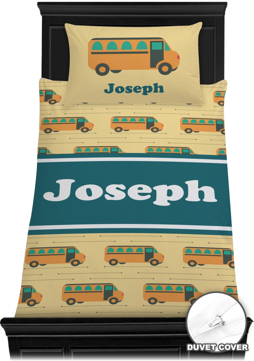 School Bus Duvet Cover Set - Twin (Personalized)