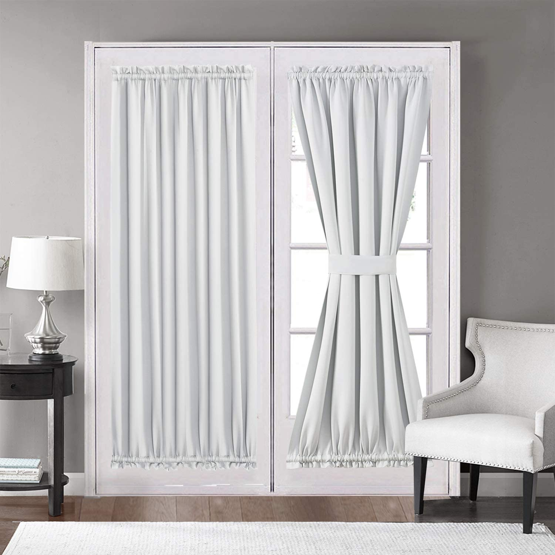 2x Modern Satin Fabric Curtain Patio Door Yard Blackout Drape Window Panel PICK