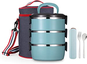 YBOBK HOME Bento Lunch Box, Stackable Insulated Leak Proof Stainless Steel Metal Portable Cylinder All-in-one Lunch Container with Lunch Bag Spoon and Fork for Adults (Turquoise)