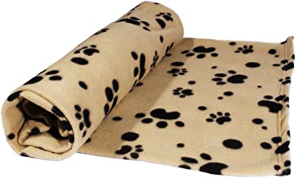 PETS EMPIRE Pet Dog Cat Fabric Blanket Mat Bed with Paw Prints