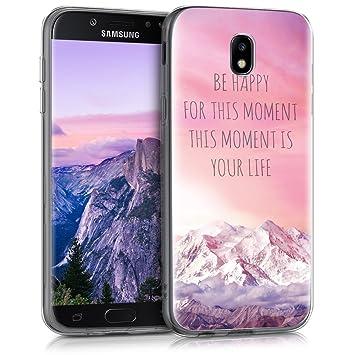 kwmobile Funda para Samsung Galaxy J5 (2017) DUOS - Carcasa de TPU para móvil y diseño Be Happy for en Rosa Claro/Violeta/Coral
