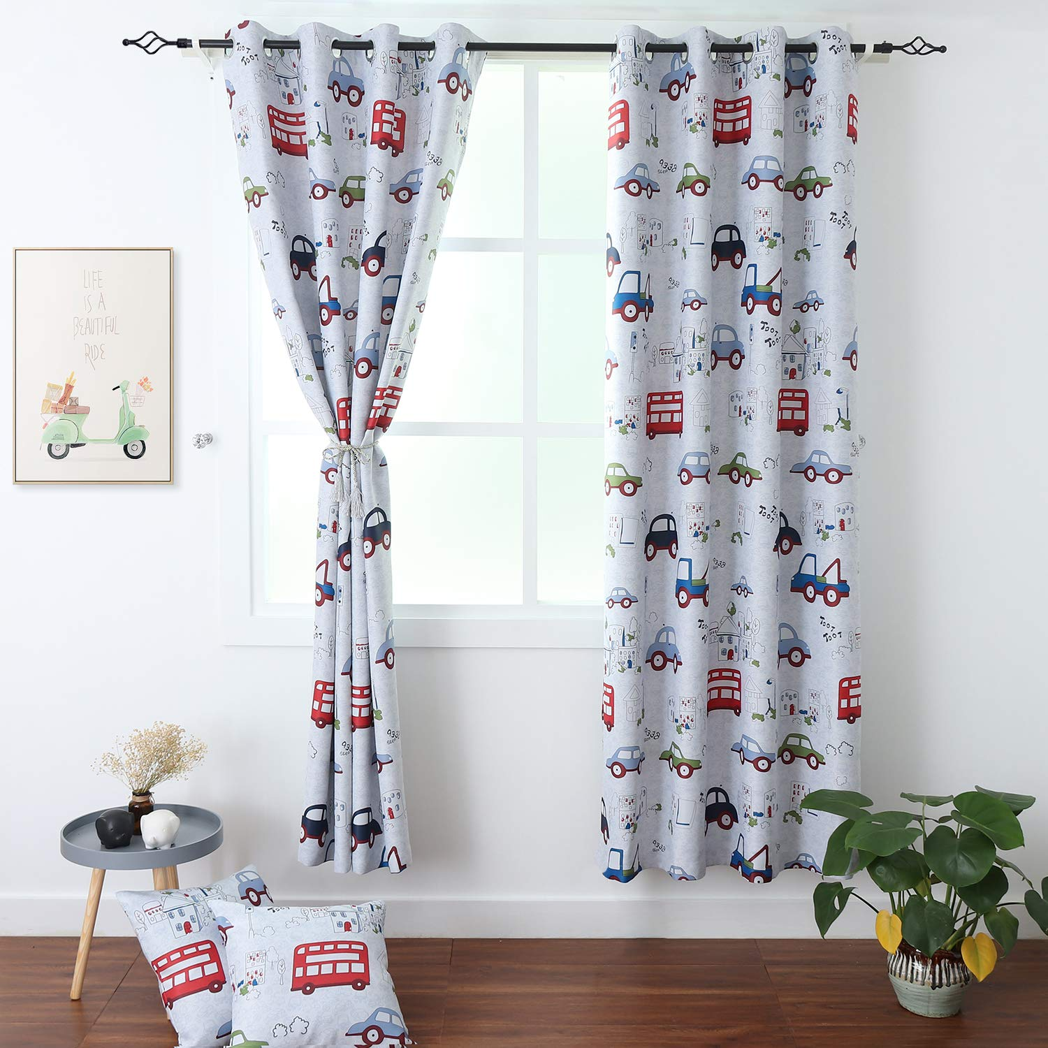 BGment Kids Blackout Curtains - Grommet Thermal Insulated Room Darkening Printed Car Bus Patterns Nursery and Kids Bedroom Curtains, Set of 2 Curtain Panels (52 x 84 Inch, Greyish White) by BGment