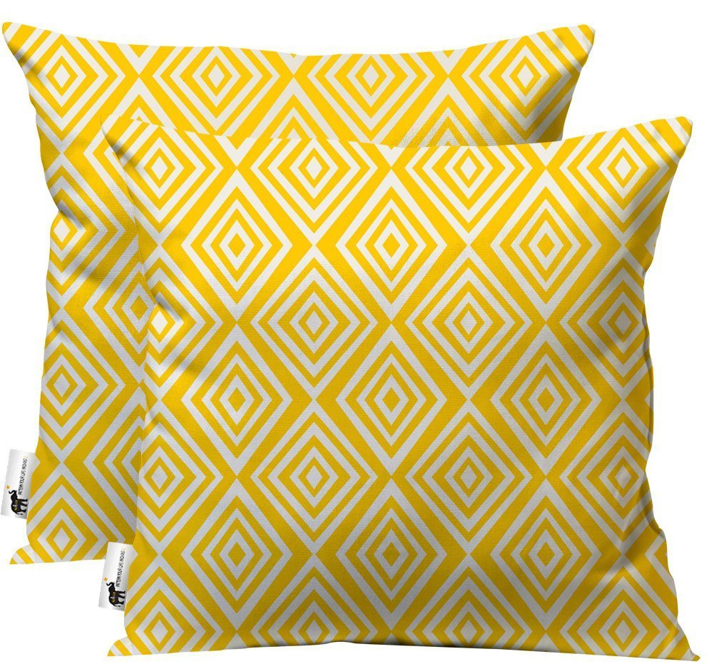 UBU Republic Retro Modern Outdoor Throw Pillows – Set of 2 – Vintage Italian Yellow Indoor Outdoor Patio Pillows – Allotrope 16X16