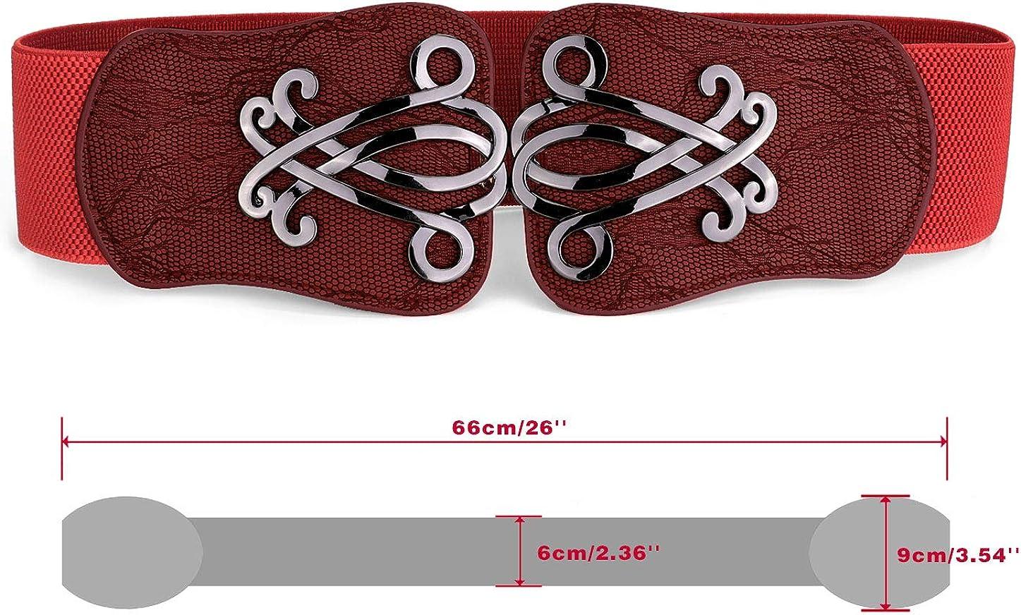 uxcell Women Elastic Cinch Belt Metal Buckle Flower Decor Leather Width 2.4 Inches