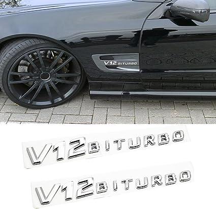 V12 BiTurbo AMG 3D Badge Fender Emblem For Mercedes Benz SLCL65 CLS600 S65 Red