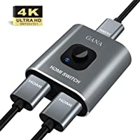 HDMI Switch 4K HDMI Splitter - Gana Prime Aluminum Bi-Directional HDMI Switcher 1 in 2 Out (Single Display) or 2 Input 1 Output, Supports 4K 3D HD 1080P for Xbox PS4 Roku HDTV etc.