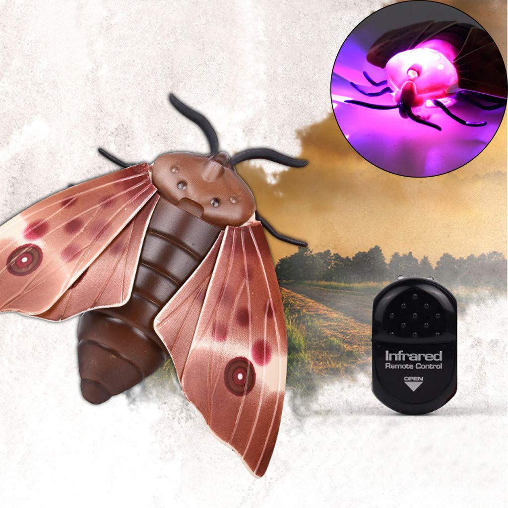 Jinjin Children Tricky Toys, Infrared Induction Electric Remote Control Fly Moth Fun Toy (Brown)