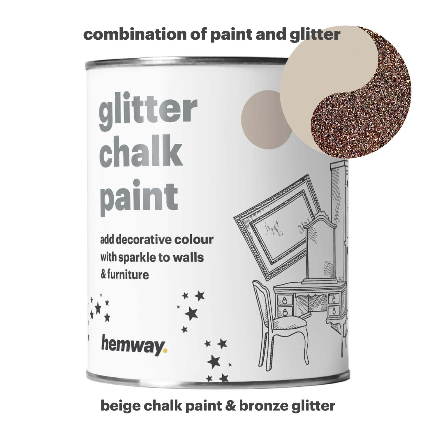 Hemway Beige Chalk Paint (with Bronze Glitter) Sparkle Matt finish Wall and Furniture Paint 1L/35oz Shabby Chic Vintage Chalky Crystal (25 Glittery Colours Available) by Hemway