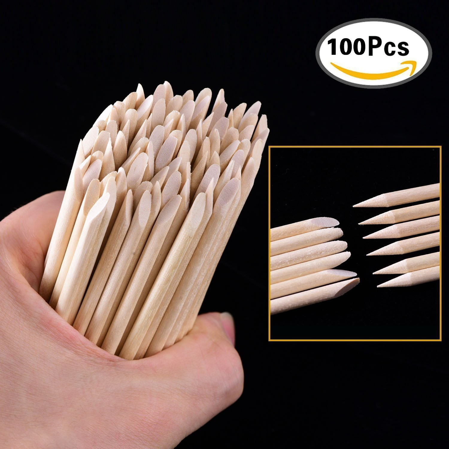 100 Pcs Nail Cuticle Pusher Nail Art Orange Wood Stick Sticks Cuticle Pusher Remover Manicure BTYMS