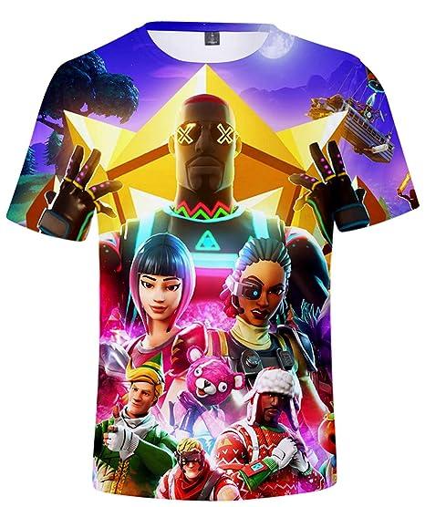 SERAPHY Fortnite Short Sleeve Shirt 3D Printd Fortnite T-Shirt for Kids Q1034-110