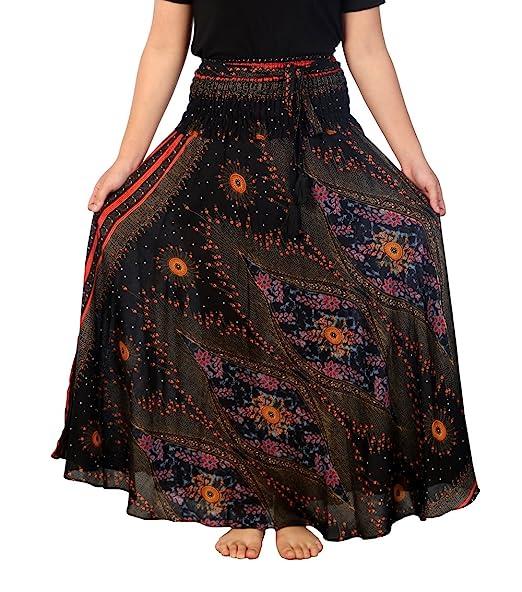 39aa4747229d Lannaclothesdesign Women's Long Maxi Skirt Bohemian Gypsy Hippie Style  Clothing (US Size 0-16