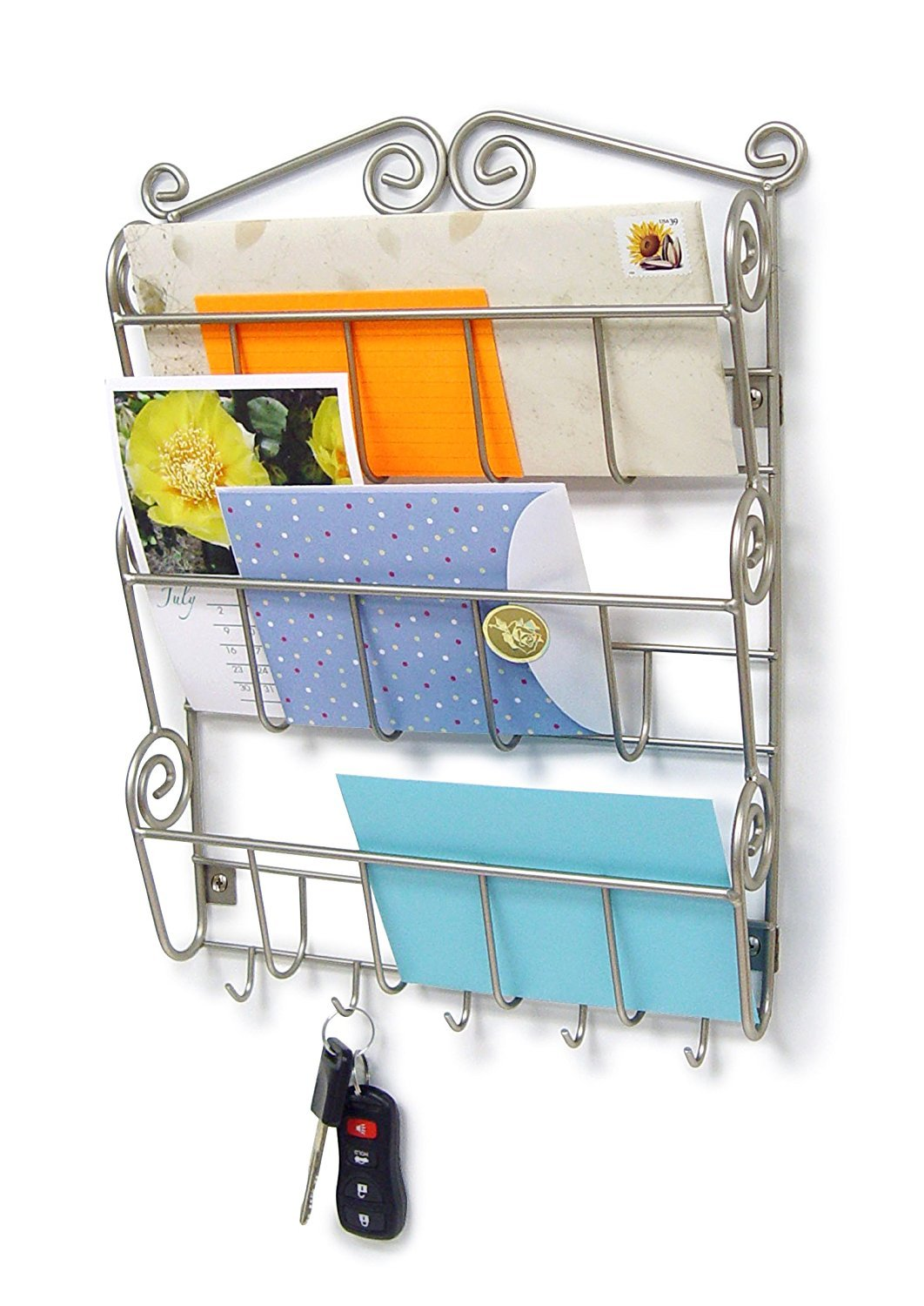 Spectrum Diversified Scroll Mail and Letter Organizer, Wall Mount, Satin Nickel