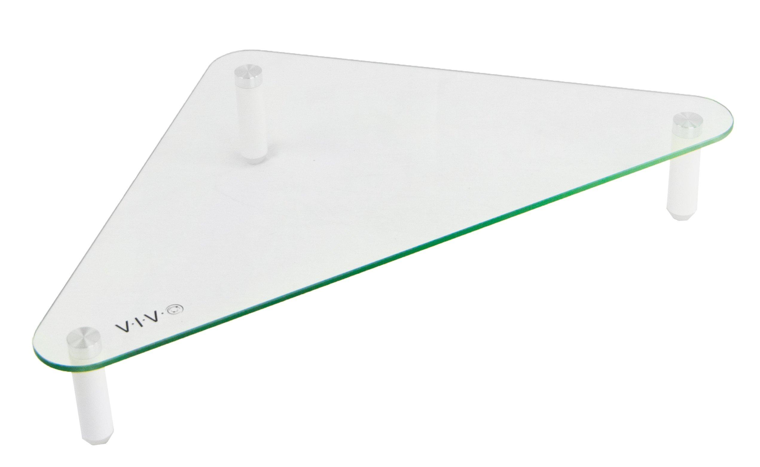 VIVO Glass Ergonomic Tabletop Riser | Triangle Desktop Universal Corner Stand for Computer Monitor & Laptop (STAND-V000Q)