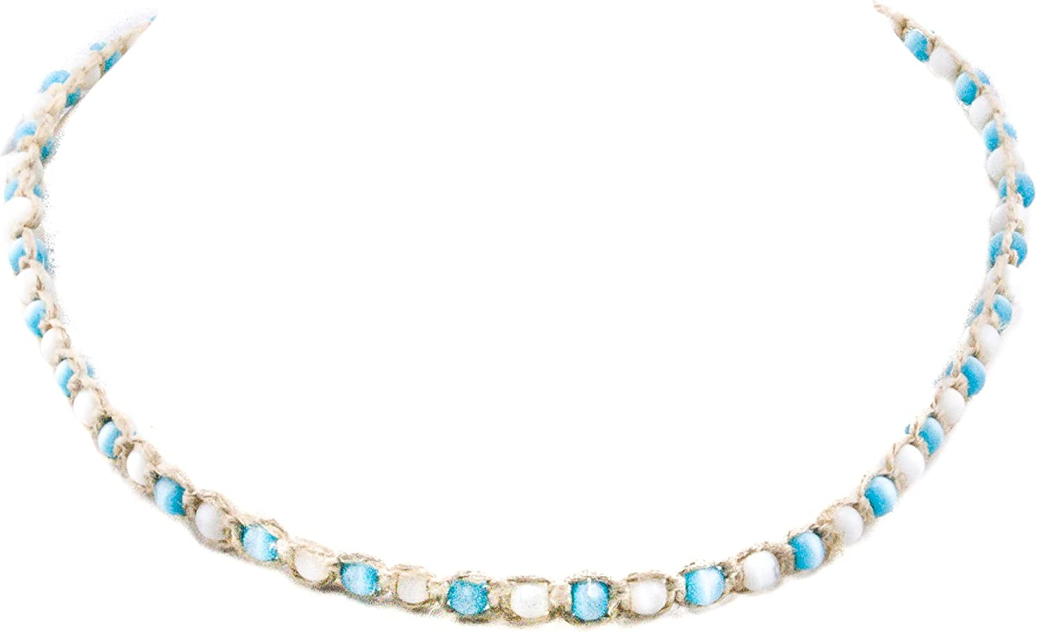 Hemp Choker Necklace with White and Light Blue Cats Eye Beads