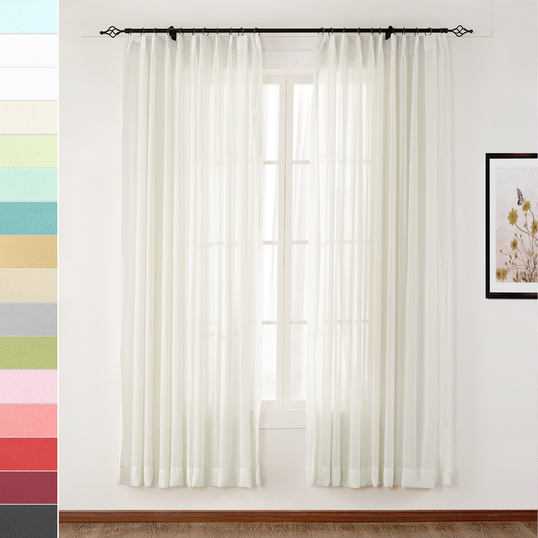 Macochico Elegant Semi Sheer Curtains Pinch Pleat Light Voile Drapes Privacy Protection Lightproof for Bedroom Living Room Cabana Gazebo Pergola Porch Beige 72W x 84L (1 Panel)