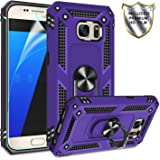 Galaxy S7 Phone Case, Galaxy S7 Case with HD Screen Protector,Gritup 360 Degree Rotating Metal Ring Holder Kickstand Armor Anti-Scratch Bracket Cover Phone Case for Samsung Galaxy S7 Purple