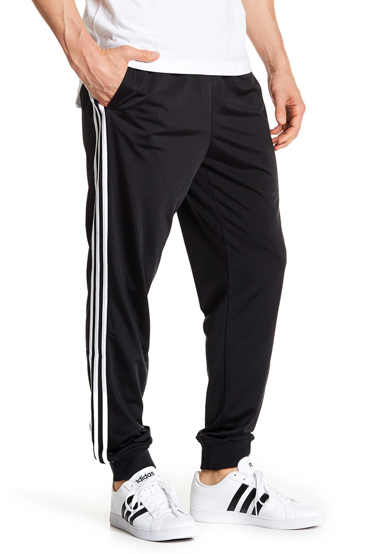 adidas Men's Essentials Tricot Jogger Pants, Black/White, XX-Large by adidas