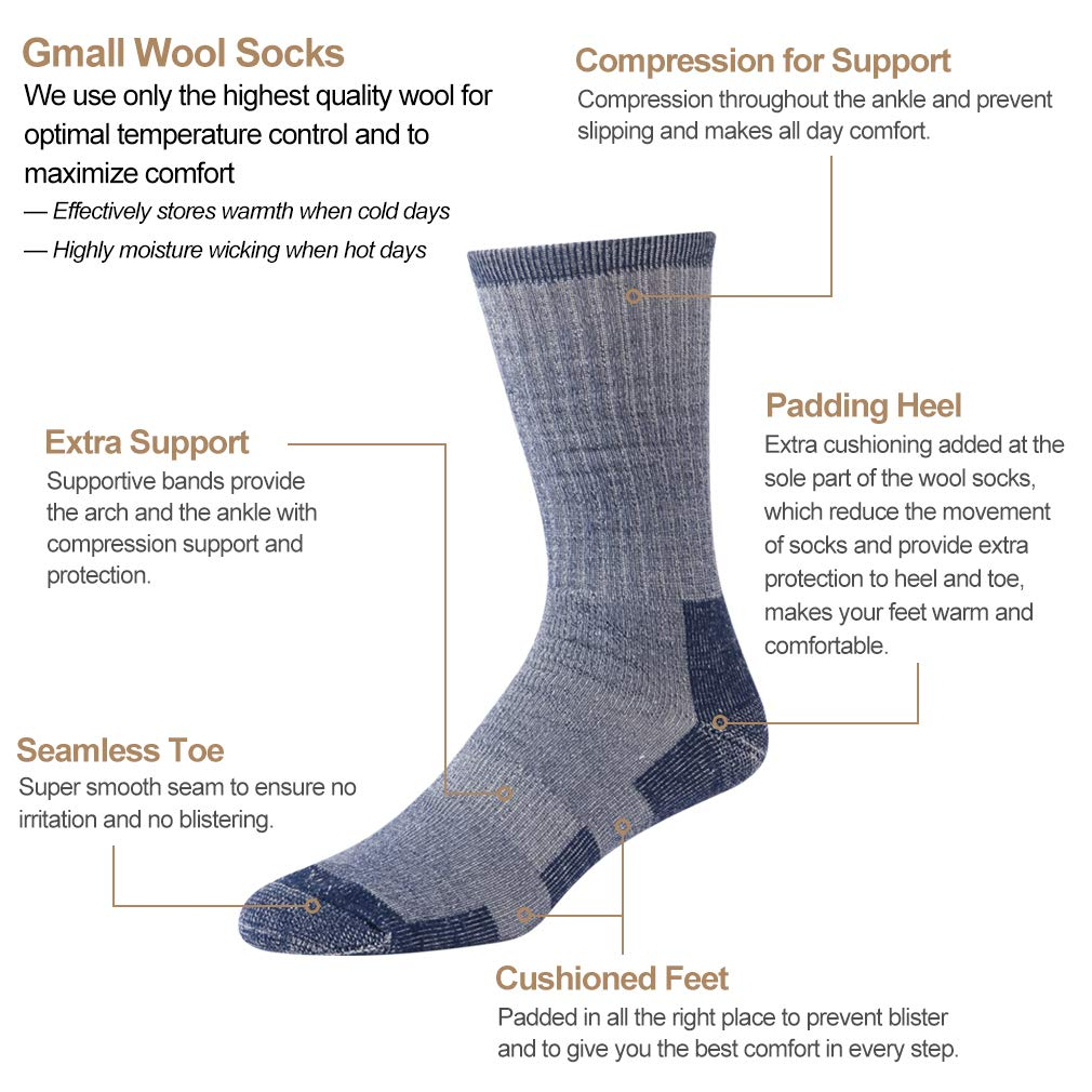 Gmall Outdoor Winter Warm Thick Cushion Wool Crew Socks for Women and Men 1//2//4 Pairs Hiking Socks