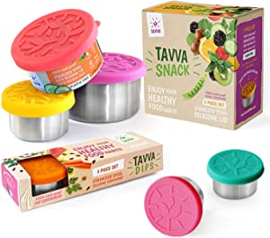 TAVVA Bundle - Tavva Snack Stainless Steel Food Containers - Plastic Free Leakproof Silicone Lids [Set of 3] | TAVVA Dips Salad Dressing Container To Go – 3X1.5oz Containers