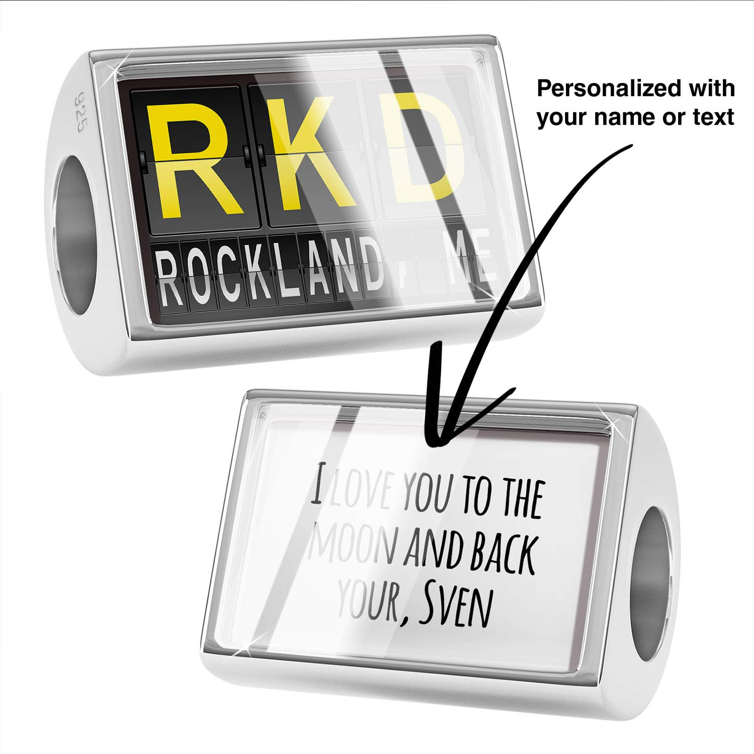 NEONBLOND Custom Charm RKD Airport Code for Rockland ME 925 Sterling Silver Bead