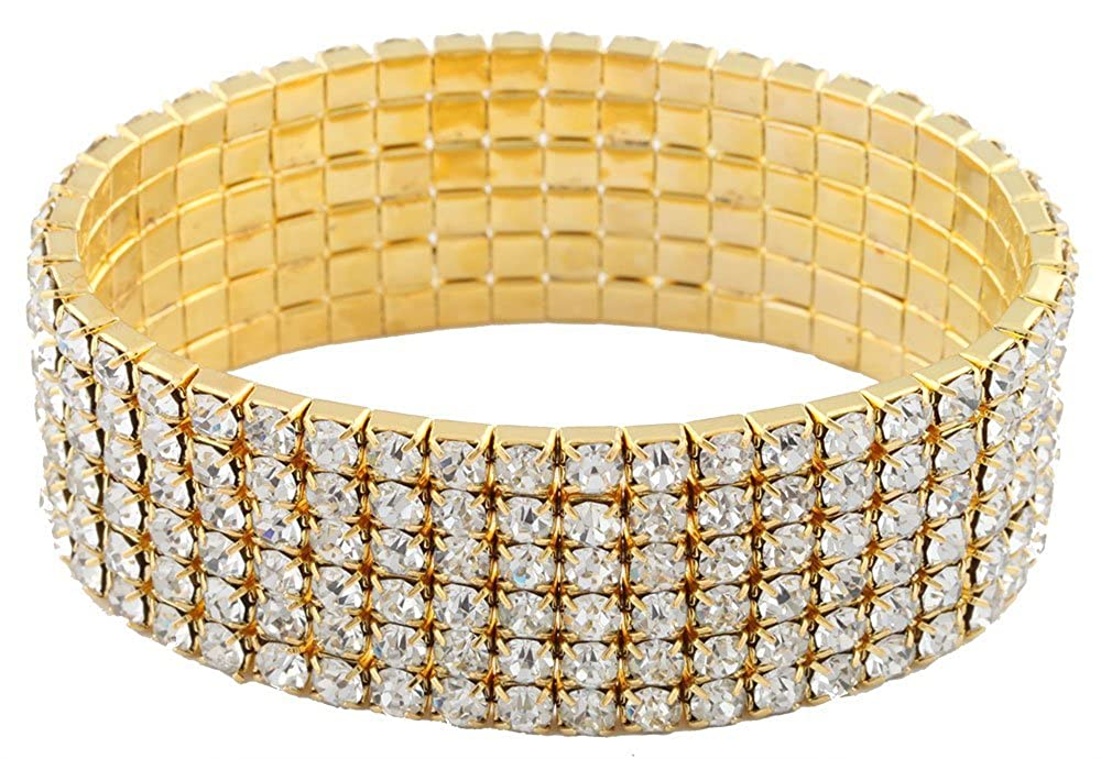 Goldtone with Clear Bridal Six Row Iced Out Elastic Stretch Bracelet JOTW KB4349/S-3388