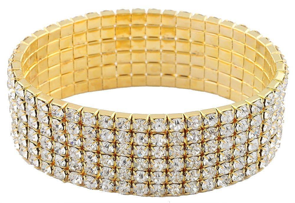 Goldtone with Clear Bridal Six Row Iced Out Elastic Stretch Bracelet JOTW KB4349/S-3388