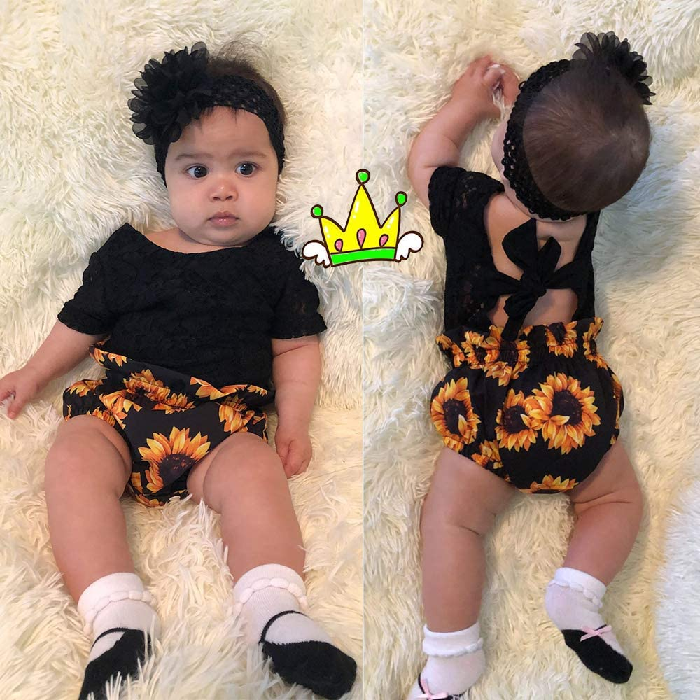 Baby Girls Outfits Sunflower Romper Bodysuit Short Sleeve Sleeveless Floral Pants Floral Headband Summer 3Psc Set