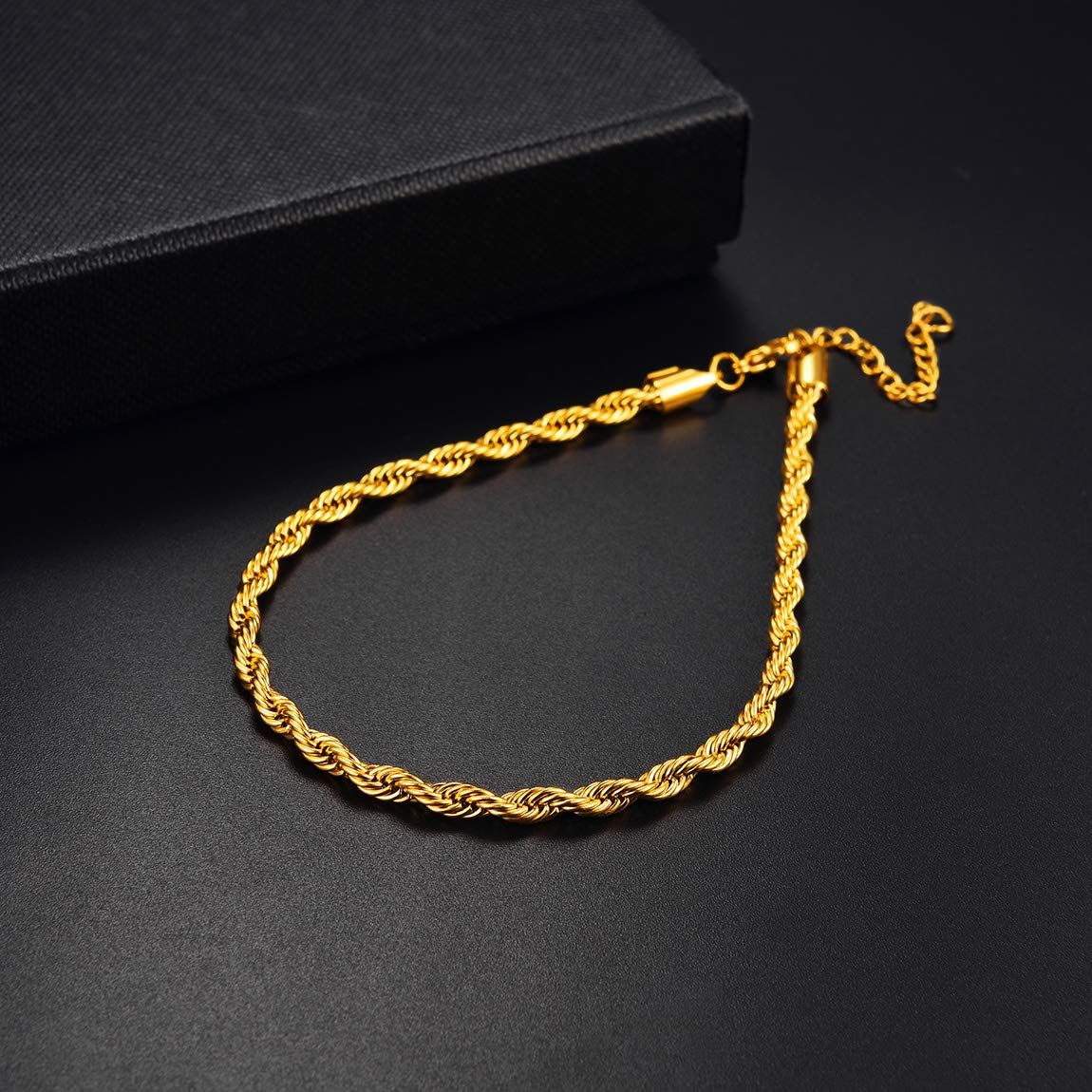 3mm Womens Mens Boys Chain Anklet,Classic Rope Anklet Jewellery for Mens Womens,18K Gold//Silver Anklet Chain,9+2inch//23+5cm