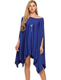 a9ad9fdcb3f SoTeer Women Sexy Off Shoulder Asymmetric Loose Batwing Blouse Cape Tunic  Tops