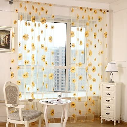 Amazon.com  1x2M Beautiful Sunflower Sheer Curtain Tulle Flower ... ffe671fecab6