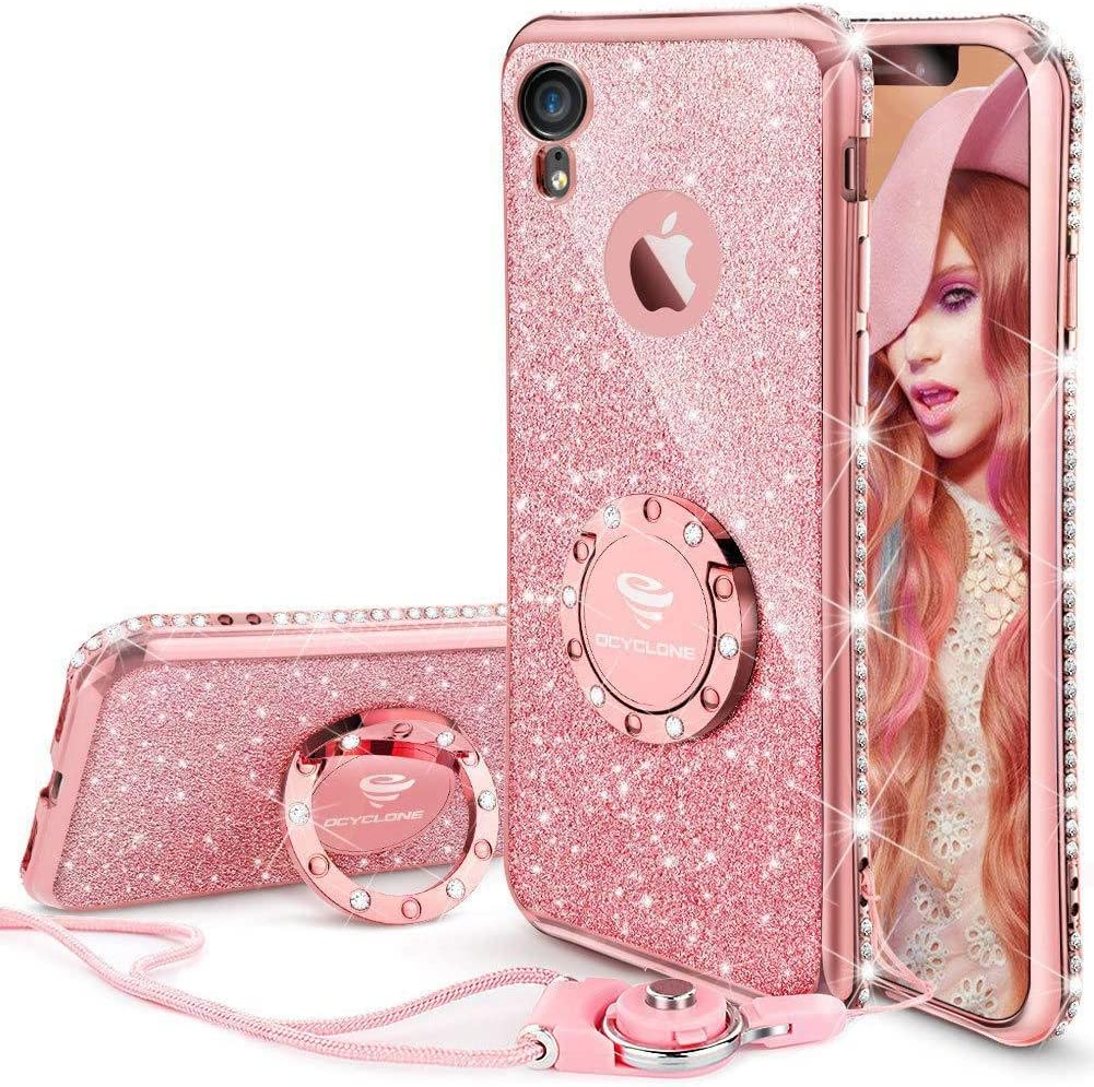 Cute iPhone XR Case, Glitter Luxury Bling Diamond Rhinestone Bumper with Ring Grip Kickstand Protective Thin Girly Pink iPhone XR Case for Women Girl - Rose Gold Pink