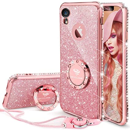 huge discount ff760 8f05c OCYCLONE iPhone XR Case for Girl Women, Cute Girly Glitter Bling Diamond  Rhinestone Bumper with Ring Kickstand Sparkly Pink Protective Phone Case  for ...
