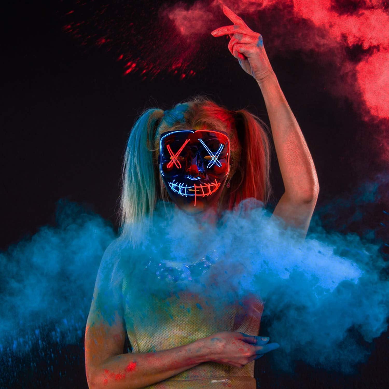 The Purge Mask Blu A Sinwind Maschere Halloween LED Maschera Neon LED Mask Maschere Luminose per Halloween Cosplay Feste del Partito Halloween Costumi Maschera Notte del Giudizio