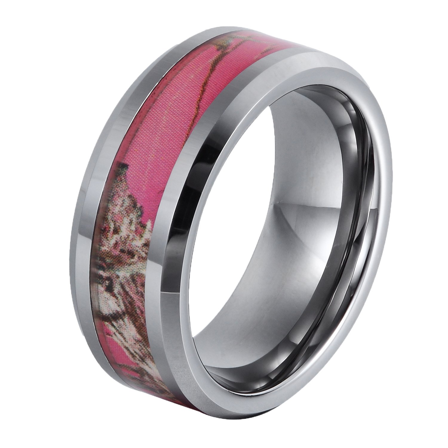 GER 8mm Tungsten Ring Gift Camo Hunting Camouflage Pink Tree Women's Wedding Band,Size 8