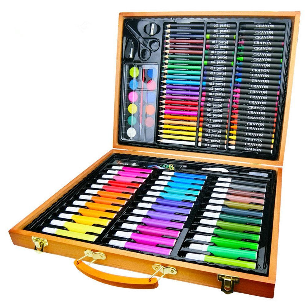 Artist art drawing set, Perfect For Beginner Artist Coloring And Drawing Kits - 150 Pieces Of Wooden Box Art Set For Painting And Drawing Set Art Supplies Pencils. Gifts for children and children.