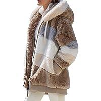 Buhui Abrigo de forro polar para mujer, con bolsillos delanteros abiertos, chaqueta de sherpa esponjosa, sudadera con…