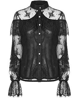 Punk Rave Womens Gothic Off Shoulder Blouse Top Black Lace VTG Lolita Steampunk