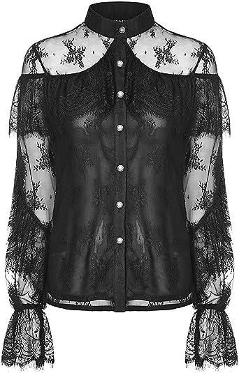 Punk Rave Mujer Gótico Encaje Blusa Negro Floral Vintage Steampunk Lolita Shirt: Amazon.es: Ropa y accesorios
