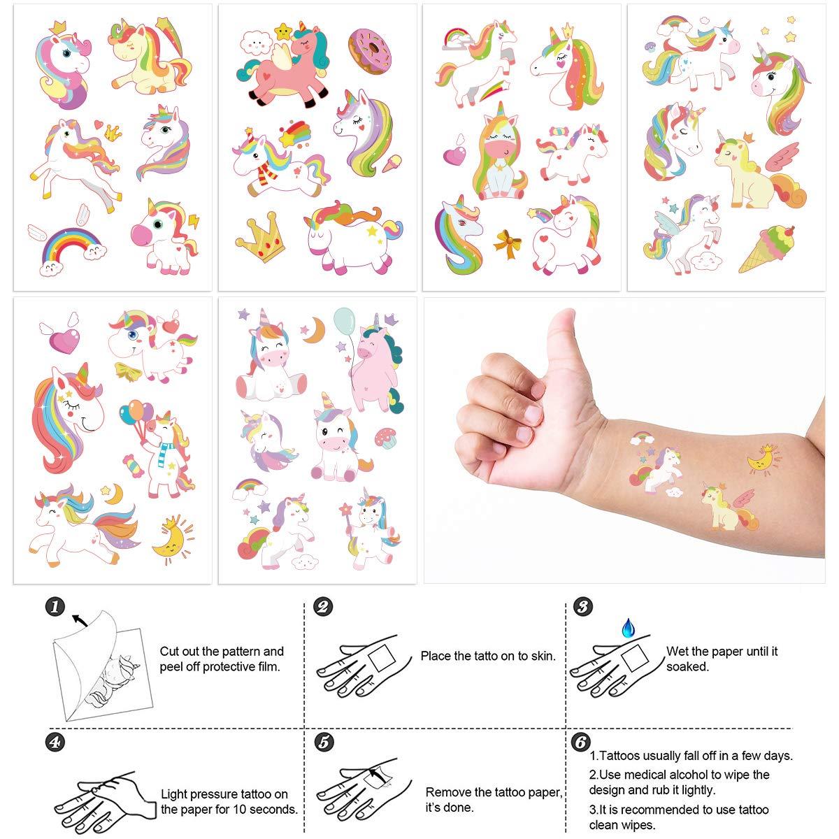 Unicorn Headbands Party Favors Supplies 63PCS Frcolor Unicorn Temporary Tattoos Unicorn Birthday Favors Unicorn Hair Ties Clips for Cosplay Birthday Party Christmas GIft