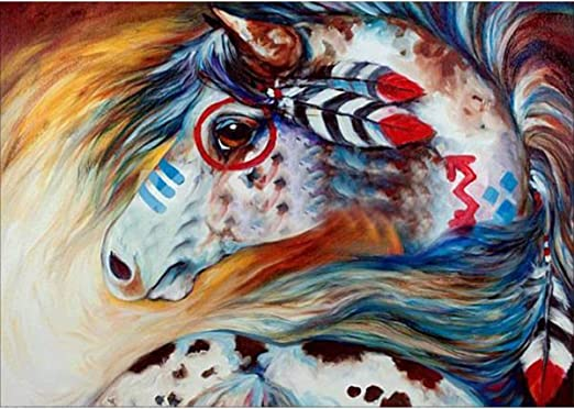 MXJSUA DIY 5D Diamond Painting by Number Kits Full Round Drill Rhinestone Embroidery Cross Stitch Picture Art Craft for Home Wall Decor Brown Horse 12x16In