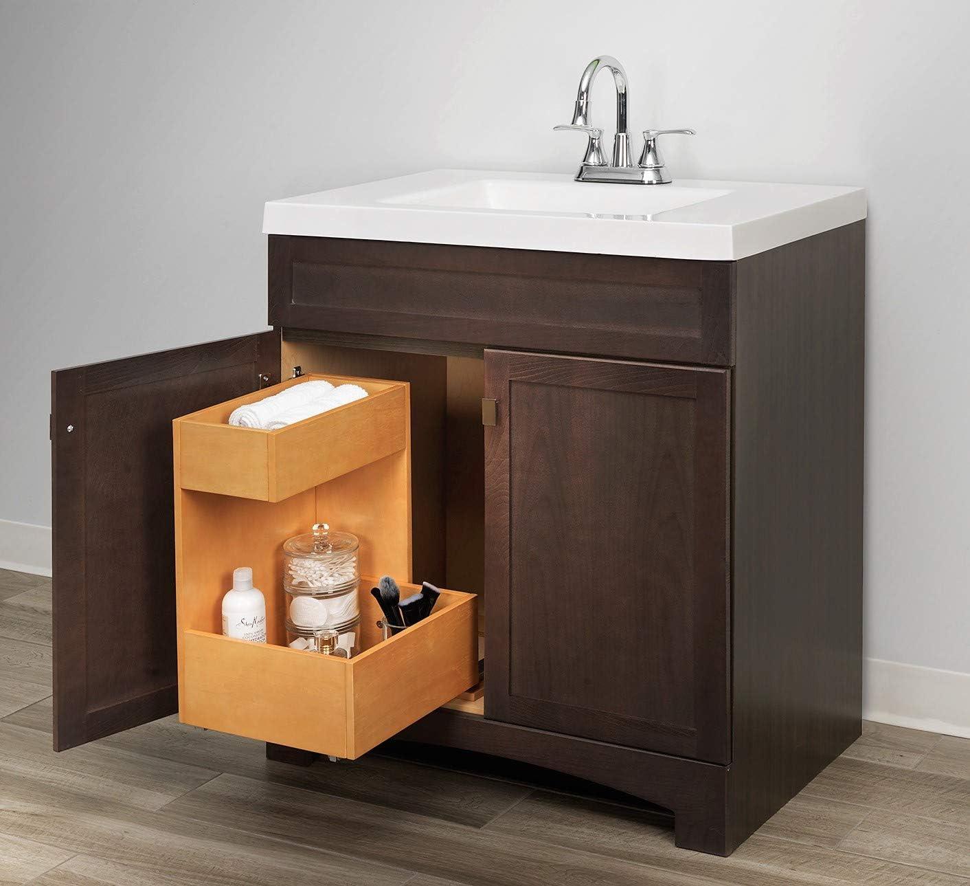 Amazon Com Homewerks Worldwide Ripvanshelf2 Slide Out Storage Cabinet Under Sink Organizer 19 Inch 2 Tier Premium Wood Finish Home Improvement
