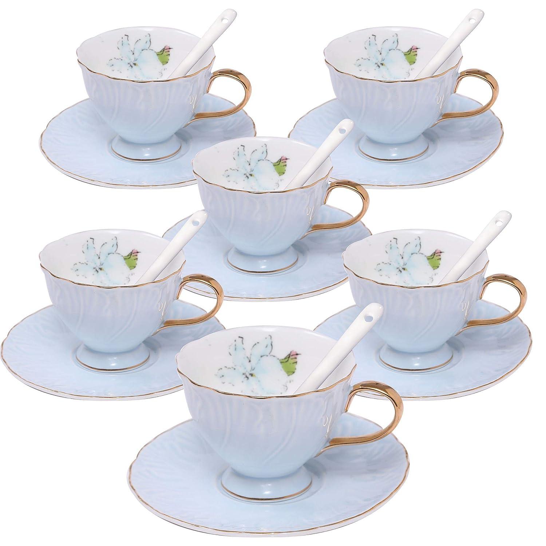 ufengke 4oz Coffee Cup Set,Small Capacity Porcelain Coffee Tea Sets,Set of 6 Ceramic Tea Cup and Saucer-Blue