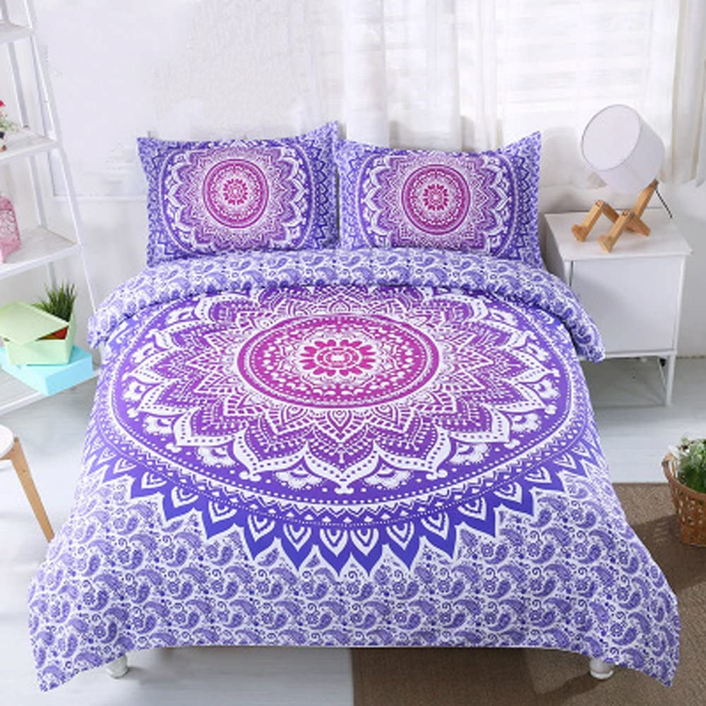 Koongso 2 Pcs Bohemian Bedding Boho Bedding Crystal Arrays Bedding Quilt Bedspread Mandala Hippie Duvet Cover Set (Twin Purple)